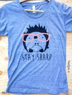 Hedgehog w Glasses - Women's T-Shirt - American Apparel Gray Tri-Blend