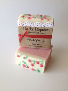 Spring WILD CHERRY Scented  EASTER Handmade Bar Natural Vegan Cold Process Soaps on Etsy, $6.00