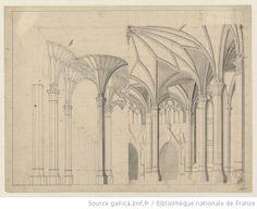 [Ein gotisches Zimmer mit drei Türen und breiten Fenstern] : [esquisse de décor] - 1