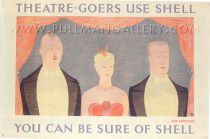 'Theatre-Goers Use Shell' by Armstrong, 1938    Original poster, dated 1938, linen mounted and unframed.     Dimensions: 30 x 45 inches (76 x 114 cms).    Price Code: £££