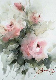 Watercolor Flowers Tutorial, Watercolor Rose, Abstract Watercolor, Watercolor Paintings, Oil Paintings, Landscape Paintings, Oil Painting Abstract, Painting Art, Abstract Flowers