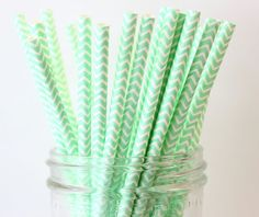 Mint Green Party Straws Mint Chevron Straws 25 by MailboxHappiness