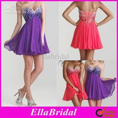 Wholesale Homecoming Dresses - Buy 2013 Crystal Beaded Coral Purple Chiffon Empire Waist Strapless Sweetheart Homecoming Dresses Party Gowns...