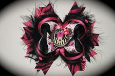 Hot Pink, Black and Zebra Print Minnie Mouse Hair Bow