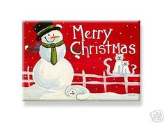 "DecoWords Indoor Gift  MAGNET 2""x3"" MERRY CHRISTMAS snowman snow cat white USA #DecorativeGreetingsIncDecowords #RefrigeratorIndoorheavydutygiftMagnet"
