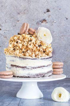 Naked Chocolate Cake With Caramel Chocolate Chip Popcorn