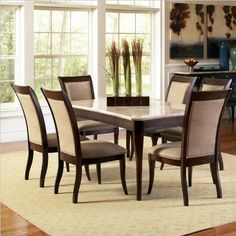 Steve Silver Company Marseille 7 Piece Marble Top Dining Table Set in Dark Cherry >>> Click on the image for additional details.Note:It is affiliate link to Amazon.