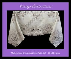 Madeira hand embroidered linen tablecloth
