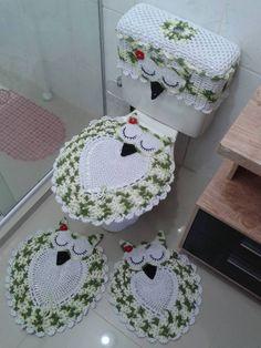 Diy Crochet Owl Toilet Tank Seat Bathroom Set Cover Free