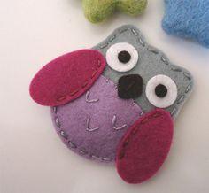 NO SLIP Owl wool felt mini hair clip grey / lilac by MayCrimson, $7.00