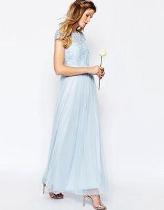 Vila+Lace+Top+Button+Back+Maxi+Dress