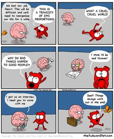 Our brains and our hearts have a very interesting relationship, and it is their crazy back-and-forth that Nick Seluk, the artist behind the popular Awkward Yeti webcomic, plays upon with his Heart And Brain comic series. Memes Humor, Funny Jokes, Hilarious, Heart And Brain Comic, The Awkward Yeti, Akward Yeti, 4 Panel Life, Head And Heart, Life Humor