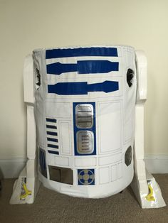 I hot-glued the legs onto the fabric which I attached to the pop-up hamper by sewing it on. The arm holes were cut after for placement but in retrospect, they were awkward and my son ended up not using them very much. Halloween 2016, Halloween Ideas, R2d2 Costume, Costume Ideas, Costumes, Hamper, Awkward, Pop Up, Arm