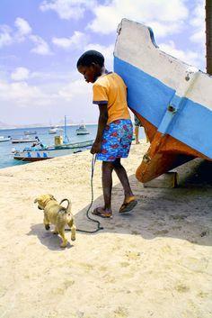 Cape verdean boy with the puppy, Sal Rei