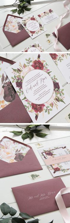 Marsala floral wedding invitation. Burgundy invitation perfect for a fall wedding. Wine wedding invitations. Maroon and blush wedding invitation. Marsala and blush wedding invitation perfect for an outdoor wedding or rustic wedding. By Unica Forma
