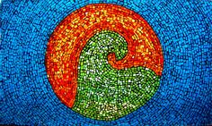 Mosaic window panel, Stained glass panel, Home decor, Mosaic ornament, Ying yang, wave, blue, green, orange