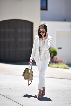 San Francisco Marketing Director and Style influencer Anh Sundstrom of 9to5Chic shows how to wear one iconic St. John jacket, three ways with the Izza Knit Double Breasted Jacket from the Pre-Fall 2016 collection.