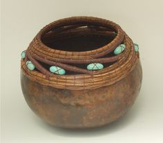 Brown Gourd with PineNeedle Turq Bead Swirl Rim Item 581 by