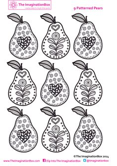 Hand drawn patterned pears to color, make into mini bunting if you want, & use the theme to discuss the importance of fruit in your kids' diet. Free download