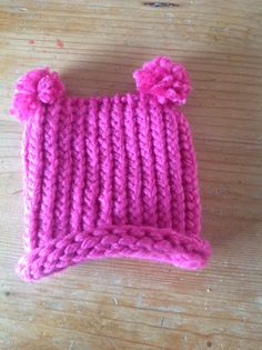 Knifty knitter pink girly hat