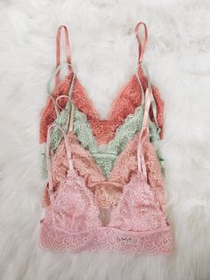 Banded Lace Triangle Bralette (Peach, Grayed Jade, Blush, Light Pink)