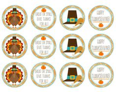 Thanksgiving Cupcake or Food Toppers  Great by Pinkowlpartydesign