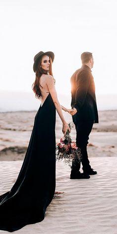 black wedding dress bride and groom match! wedding black 21 Black Wedding Dresses With Edgy Elegance Gothic Wedding, Boho Wedding, Dream Wedding, Elegant Wedding, Rocker Wedding, Perfect Wedding, Black Wedding Dresses, Bridal Dresses, Wedding Black