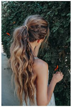 Boho Hairstyles For Long Hair, High Ponytail Hairstyles, Bohemian Hairstyles, High Ponytails, Summer Hairstyles, Girl Hairstyles, Wedding Hairstyles, Messy Ponytail, Hairstyle Ideas