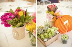 Decoración floral con suculentas, craspedias, ranunculos, protea y farolillos de feria (Diseño colorista de Marlett junto a Vinca per Vinca)