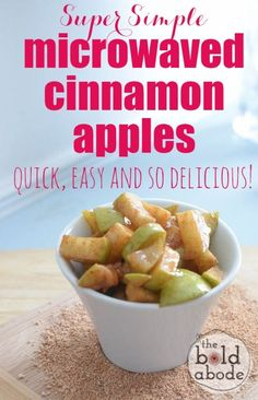 and Easy Microwaved Cinnamon Apples Super Simple Microwaved Cinnamon Apples. quick, easy and SO delicious! quick, easy and SO delicious! Whole Food Diet, Whole Food Recipes, Cooking Recipes, Apple Recipes Easy Quick, Easy Microwave Recipes, Microwave Food, Apple Pie Recipe Easy, Easy Pie Recipes, Apple Dessert Recipes