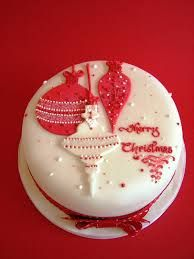 christmas cake decoration ideas red and white - Google Search