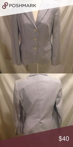 Brooks Brothers seersucker cotton blazer NWOT Beautiful blue & white stripe blazer fully lined in soft cotton. NWOT Brooks Brothers Jackets & Coats Blazers