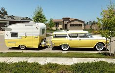 Gorgeous Retro Rambler Station Wagon with attached camper ♥
