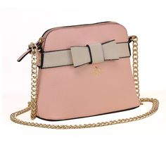 Elsa Bow Front Small Shoulder Bag in Light Pink with Gold Chain Strap - Sarah Birds Boutique
