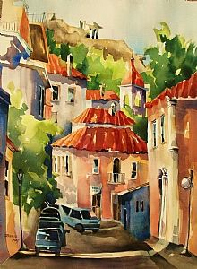 """Old Athens by Jinnie May Watercolor ~ 30"""" x 22"""""""