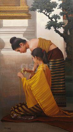 View works by Asian artist Rearngsak Boonyavanishkul, from Thailand. Traditional Paintings, Traditional Art, Laos, Art Thai, Vietnam, Bangkok, Indonesian Art, Art Asiatique, Aboriginal Art