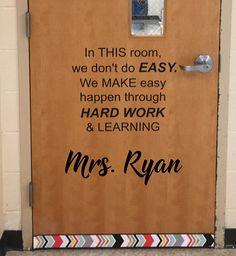 "Custom ""Teacher Name"" Vinyl, Die Cut Decal for classroom doors or walls Math Classroom Decorations, School Door Decorations, Science Classroom, Classroom Ideas, Modern Classroom, Classroom Teacher, Classroom Door Quotes, Classroom Walls, Classroom Bulletin Boards"