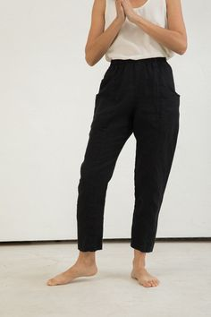 Clyde Work Pant in Midweight Linen Black