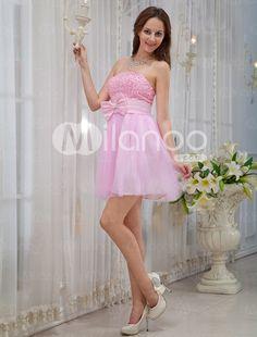 Pink Strapless Sequin Mini Length Tulle Prom Dress - Milanoo.com