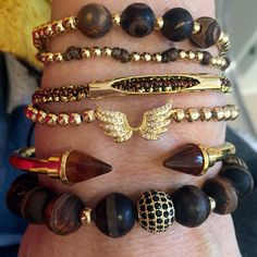 Set By Vila Veloni Gold Wings And Divine Chocolate Stone Bracelets