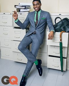 Chadwick Boseman's GQ Cover Story October 2014: Celebrities: GQ Not sure about the green shirt but I really like the color and cut of the suit.