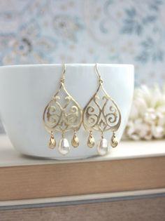 Gold Moroccan, Boho Filigree Ivory Pearls Chandelier Earrings. Gold Drop Earrings. Maid of Honor. Bridesmaids Gifts. Bridal Earring. Weddin
