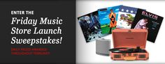The Friday Music store is giving away vinyl...everyday in February! Win. One Crosley turntable One iHome Bluetooth speaker Four single LPs of your choice. Excludes box sets and multi-album sets.