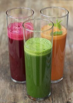 Colorful trio of juice recipes: green, red and orange