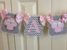 Owl baby shower banner/It's A Girl baby shower by InspiredbyElena                                                                                                                                                     More