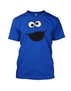 COOKIE MONSTER Cartoon Sesame Street Face Mens T Shirt