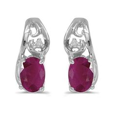 14k White Gold July Birthstone Oval Ruby And Diamond Earrings
