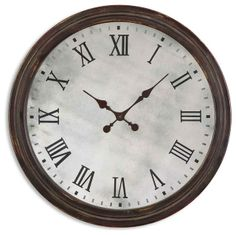 Round Wooden Roman Numeral Wall Clock