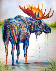 Contemporary painting of a moose standing in a lake. Grand Teton Gallery, Jackson, Wyoming. Click to see photo!