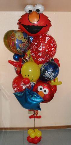 Elmo Portrait Sesame Street Balloon Bouquet Compleanno Felice e